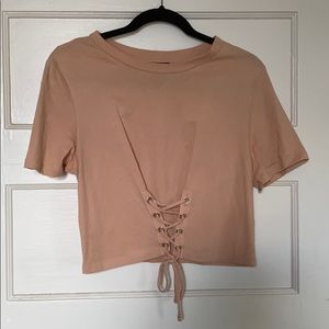 F21 Cropped Tie Shirt